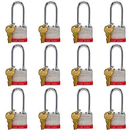 "Lion Locks Keyed-Alike Laminated Padlocks 12-Pack, 1.6"" Hardened Steel Casing, 2"" Long Shackle, Pick Resistant Brass Pin Cylinder, and 24 Alike Keys for Hasp Latch, Shed, Storage, Locker, Fence, more"