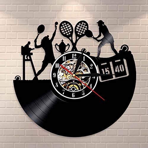 Tbqevc Net Game Disco de Vinilo Reloj de Pared para Mujer Reloj de Pared Retro Net Club decoración de Pared Arte Deportivo Reloj de Pared 12 Pulgadas
