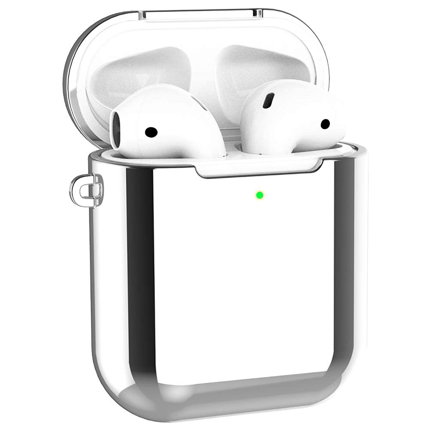 Alritz Case for AirPods 1 & 2, Plating TPU Protective Case Shockproof Cover Skin for Apple AirPods 1 & 2 Charging Case [Front LED Visible] [Support Wireless Charging], Silver