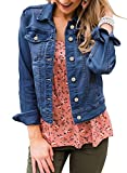 LookbookStore Denim Jacket for Women Fall Clothes Classic Trucker Jackets Basic Long Sleeves Button Down Fitted Stretchy Denim Jean Jackets for Women Blue Size M
