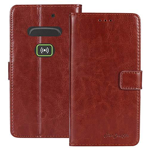 TienJueShi Braun Retro Business Flip Book Stand Brief Leder Tasche Schütz Hülle Handy Hülle Für Doro Secure 580IUP Abdeckung Wallet Cover Etui