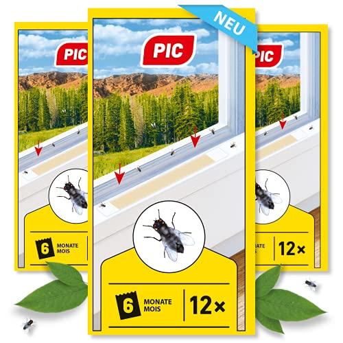 PIC - Fliegenköder - Streifen, Für Private und Professionelle Anwender - 3x12 - Unauffällige Alternative zu Einer Fliegen-Klebefalle