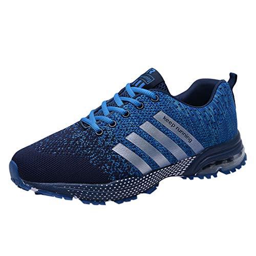 Skxinn Unisex Sneakers Fitnessschuhe Leicht Schnürschuhe Atmungsaktive Casual Herren Mode Turnschuhe Sportliche Basketball-Laufschuhe Wanderschuhe für Damen Gr 35-47(Blau-2,45 EU)