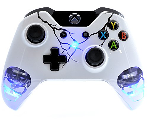 'Skulls Blue' Xbox One Custom UN-MODDED Controller Exclusive Illuminating Design