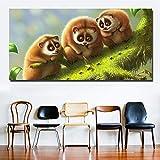 ganlanshu HD Imprime Pintura al óleo Animal de Dibujos Animados Tres lémures Jugando Fotos de Hormigas Lienzo de Arte póster Pintura sin Marco 20cmX40cm