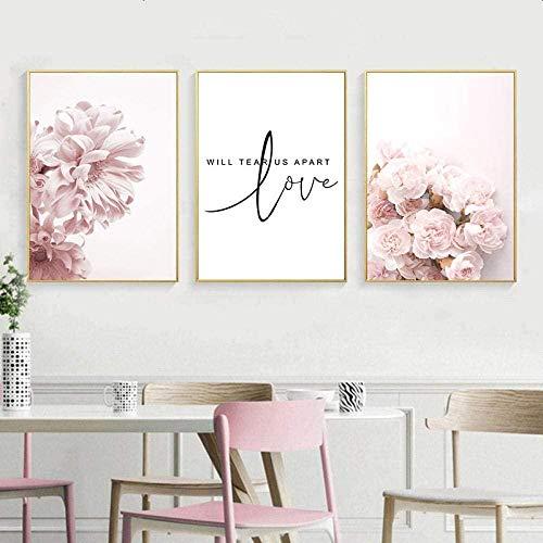 WADPJ Scandinavische naas, roze bloemenplant, posters, canvas, moderne opdruk, liefde, muurkunst, schildering, woonkamer, decoratie, schilderijen, 40 x 60 cm x 3 stuks Geen lijst