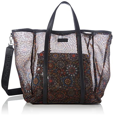 Desigual Fabric Shopping Bag, Bolsa de la Compra para Mujer, Negro, U