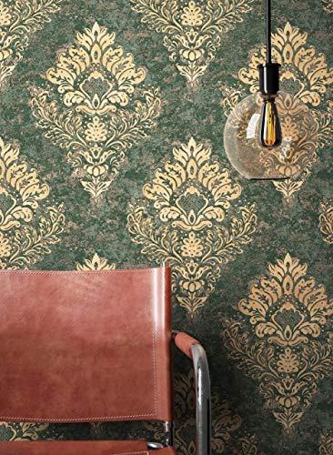 NEWROOM Tapete Grün Vliestapete Ornament - Barocktapete Barock Beige Gold Prunk Glamour inkl. Tapezier-Ratgeber