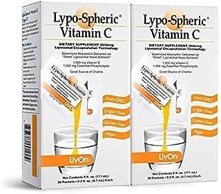Lypo–Spheric Vitamin C – 2 Cartons (60 Packets) – 1,000 mg Vitamin C & 1,000 mg Essential Phospholipids Per Packet – Lipos...