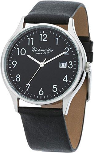 Eichmüller 3 Zeiger Herrenuhr Watch mit Lederband Schwarz, Kaliber Miyota 2035 5ATM