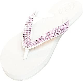White Flat Crystal Flip Flops with Pink Swarovski Stones