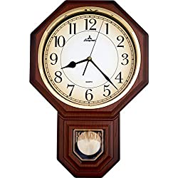 JUSTIME Traditional Schoolhouse Arabic Pendulum Wall Clock Chimes Hourly with Westminster Melody Made in Taiwan, 4AA Batteries Included (PP0258-ADW Dark Wood Grain)
