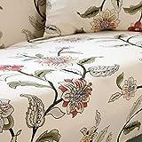 HYSENM 1/2/3/4 Sitzer Sofabezug Sofaüberwurf Stretch weich elastisch farbecht Blumen-Muster, Beige 1 Sitzer 85-140cm - 2