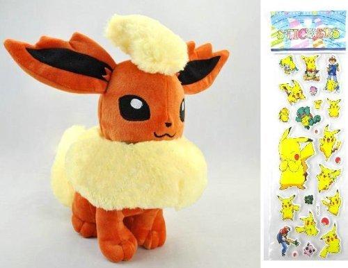 XINRUIBO Toy Pokemon Plush Flareon Doll Around 32cm 12' + Pokemon Sticker Pikachu Plush Toy (Color : Muticolour, Size : Children One Size)