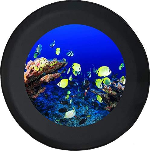 Hokdny Cubiertas De Neumáticos para Rueda De Repuesto Peces Nadando En El Océano Criaturas Marinas A Prueba De Polvo, Impermeable, Protección Solar Y Protección contra La Corrosión.