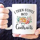 N\A Taza de café | Convierto el café en contratos | Taza Divertida | Taza del Agente inmobiliario | Regalo para Agente de Bienes Raíces | Regalo de Agente inmobiliario | Taza Agente hipotecario