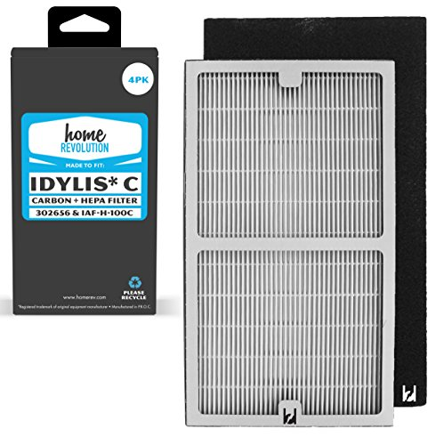Home Revolution Idylis Part # IAF-H-100C for Idylis Air Purifiers IAP-10-200, IAP-10-280, Comparable 2 HEPA Filter Plus 2 Pack Carbon Filter. A Brand Quality Aftermarket Replacement 4PK