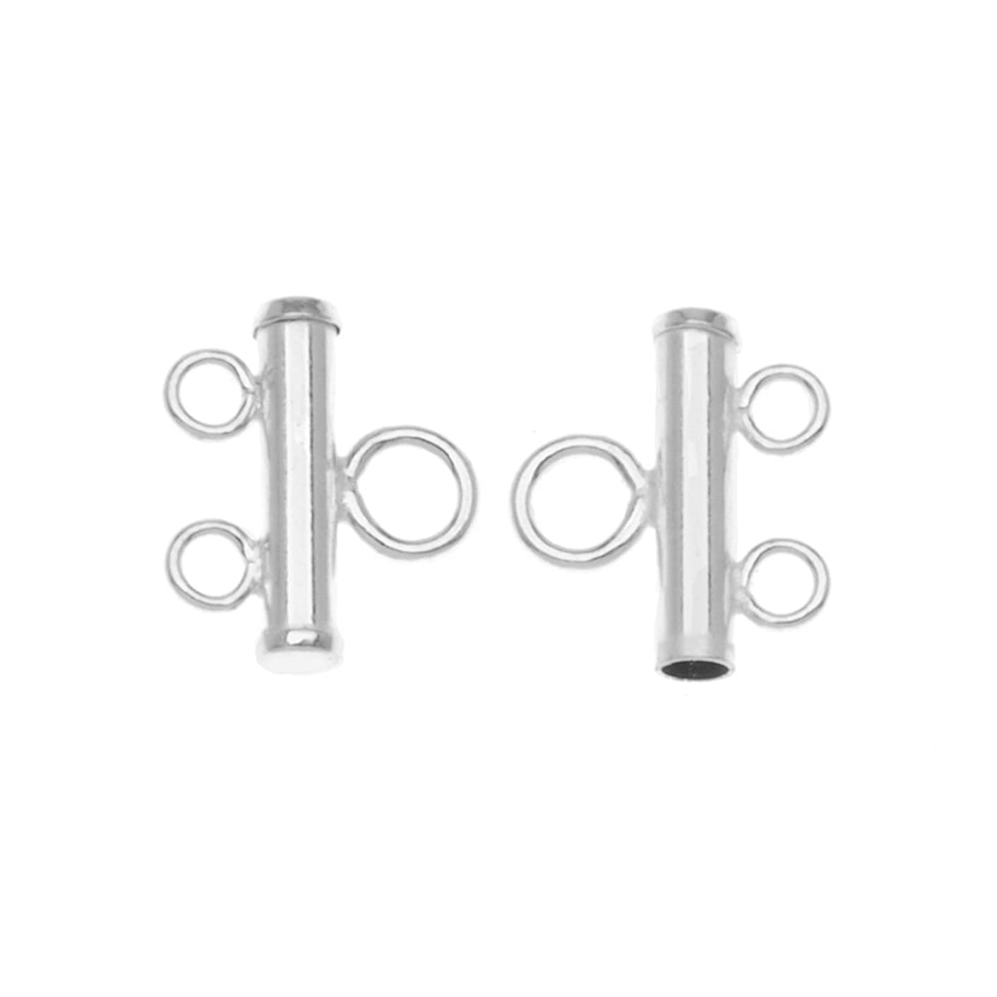 Beadaholique SS/8000/2 2-Piece Sterling Double Bead Strand Reducer Connector, Silver