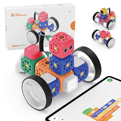 Robo Wunderkind Lernroboter für Kinder ab 5 Jahren - Klemmbausteinen-kompatibler Baukasten mit von Pädagogen erstellten Anleitungen zum spielerischen Programmieren Lernen - Entwickelt in Österreich