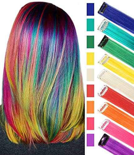 Rainbow Hair Extensions Clip in Colored Hair Extensions for Girls&Kids Hairpieces Wig for Dolls Multicolored Party Hightlight Clips 9 PCS
