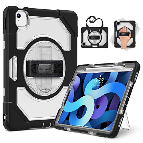 SUPFIVES iPad Air 4 Case with Apple Pencil Holder, Case for iPad Air 4th Generation 10.9 inch Clear, Heavy Duty Kids Rugged Silicone Protective Cover + Stand + Hand& Shoulder Strap for iPad Air 4 2020