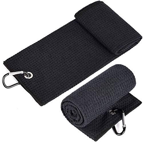 2 Stücke Golf Towel Schwarz Golfhandtücher Tri-Fold Golf Handtuch Mikrofaser Sporthandtuch Golf Towel Tuch Golfhandtücher Einhängeöse für Fitness Sport Outdoor Yoga Golf Laufen Fahrrad (50x30cm)