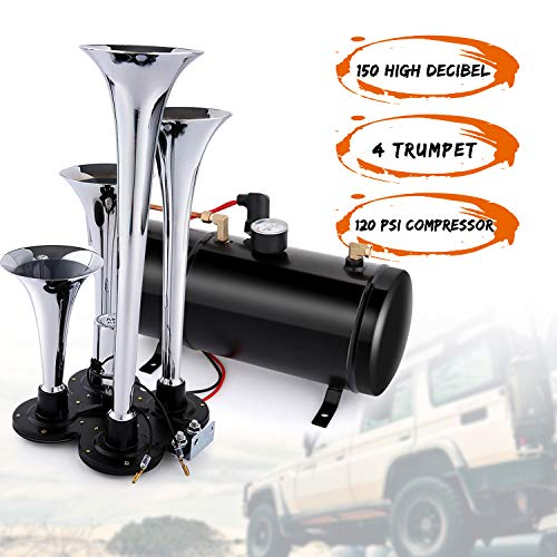 150DB Train Air Horn Kit, 4 Trumpet Train Horn Kit with 120 PSI Air Compressor 1.5 Gal Air Tank for Car Truck Train Van Boat