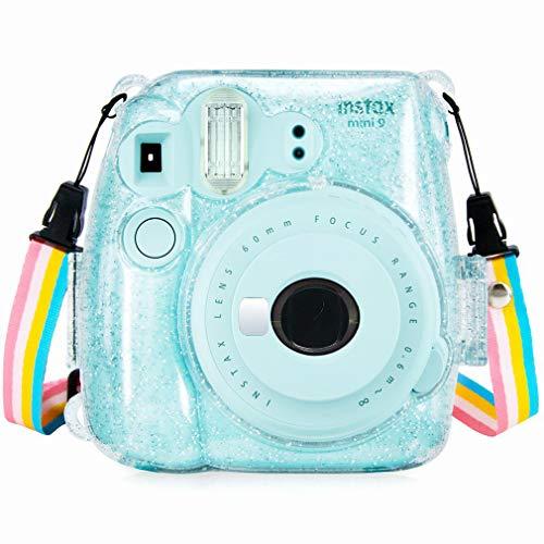 Anter Cristal Instax Mini 8 Funda de PVC para Fujifilm Instax Mini 8 Mini 8+ Mini 9 Cámara de película instantánea con Correa Colorida extraíble (Transparente A)