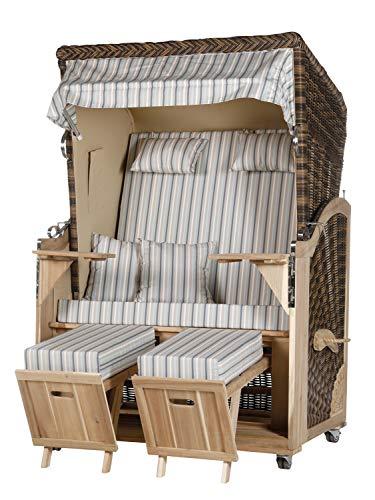 WODEGA Akazienholz Strandkorb 2 - Sitzer Blau-Beige gestreift Geflecht Croco, 2 Schwenktische inkl. Rollen fertig montiert