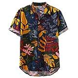 XUEbing Camisa hawaiana para hombres de manga corta con botones y cuello redondo suelta camisas de algodón de lino camisa bolsillo camisa tropical