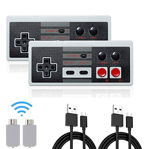 Wireless NES Mini Classic wiederaufladbarer Controller, NES Wireless Gamepad für Nintendo Mini NES Classic Edition, Wireless Joypad & Gamepads Controller (2-Pack)