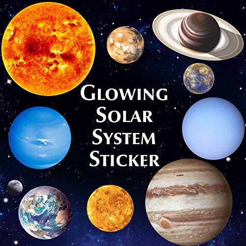 ONDY Bright Solar System Wall Stickers Glow in The Dark Sun with 9 Planets...