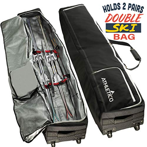 Athletico Rolling Double Ski Bag - Padded Ski Bag with Wheels for Air Travel (Black, 175cm)