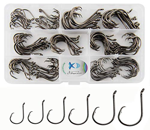 JSHANMEI 150pcs Box Circle Hooks