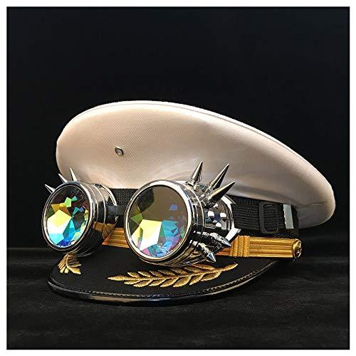 LHZUS Sombrero SteamPunk gorra visera sombrero cortical sombreros accesorios cosplay Halloween talla S M L XL XXL (color: blanco, tamaño: 61 cm)