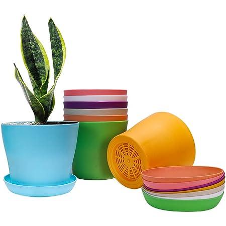 TRUEDAYS 7.8 Plastic Flower Pot Planter with Pallet 8 Colors