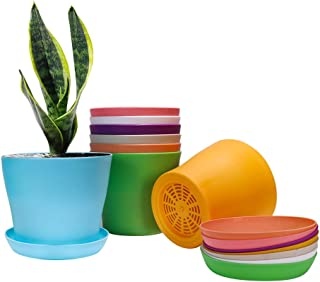 Alotpower Plant Pots, Plastic Planters Indoor Set of 8 Flower Plant Pots with Drainage and Saucer for All House Plants, Fl...