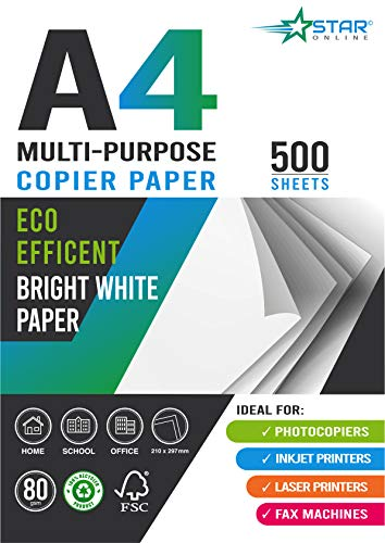 A4 Copier and Printer Paper - 500 Sheets, 80gsm Bright White Paper