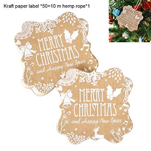 Einsgut Cadeauhanger, 50 stuks, onregelmatige kerst, kraftpapier, dag Kerstmis, bakken, etiketten met 10 m henneptouw