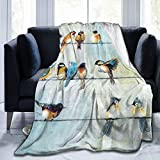 Colorful Birds On The Wire Throw Blanket Comfy Premium Flannel Fleece Sofa Blanket Comfortable Thermal Noon Break Blankets Durable Lap Blanket Warm Throw Wrap Blanket for All Season 50'x40'