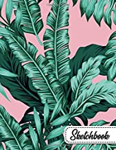 Sketchbook: Pretty Pink Floral Banana Leaves & Ferns Large Blank Sketchbook with Ample Crisp White Pages for Drawing, Sketching, Doodling and More. Cute Extra Large XL Notebook with a Softback Cover.