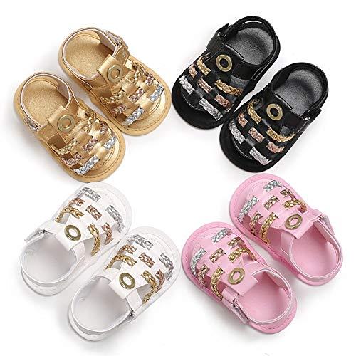 LYBfxq0621 Babyschuhe für Neugeborene, Kleinkind, Mädchen, geflochten, Kunstleder, Gold - goldfarben - Größe: Medium