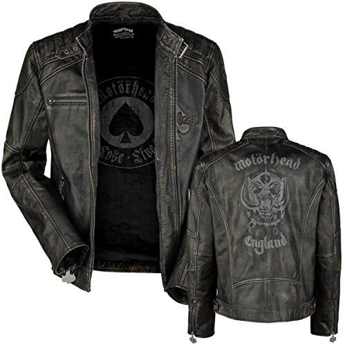 Motörhead England Männer Lederjacke schwarz 3XL 100% Leder Band-Merch, Bands