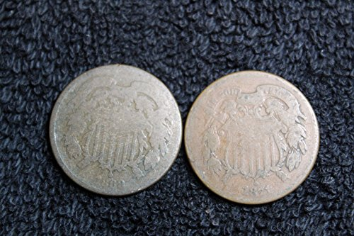 1864 to 1873 Two-Cent Pieces – Set of 2 Coins – Both Different Dates Genuine
