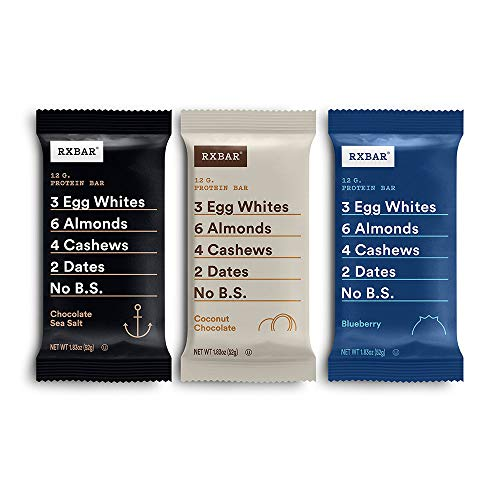 RXBAR Chocolate Sea Salt, Coconut Chocolate, Blueberry Variety Pack, Protein Bar, High Protein Snack, Gluten Free, 1.83 Oz, 24 Count