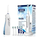 Cordless Water Flosser for Best Cleaning of Teeth Gums Professional Dental Oral Irrigator,Sonic Toothbrush, Electronic Toothbrush with 3 Brushing Modes and Built-in Timer, IPX7 Waterproof, White
