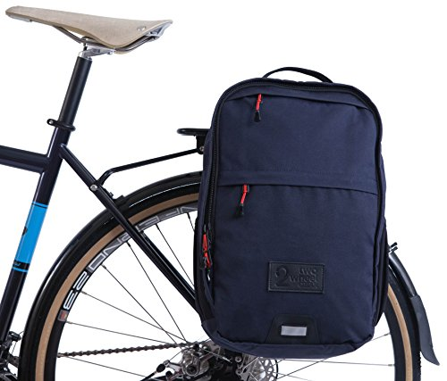 Two Wheel Gear - Pannier Backpack Convertible (Kompakt Rail) - 2 in 1 Commuting and Travel Bike Bag (Military Waxed Canvas - Navy)