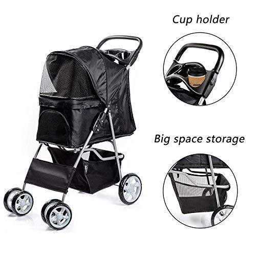 Saving Plus Pet Travel Stroller Dog Cat Pushchair Pram Jogger Buggy Trolley Puppy Jogger Folding Carrier With 4 Wheels (Black)