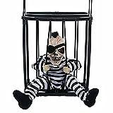 M&G House Halloween Motion Sensor Hanging Caged Animated Jail Prisoner Skeleton Terror Decoration Flashing Light up Prop Toy (Hair)