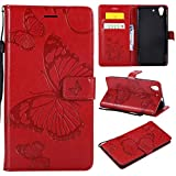 Shuisu - Funda para Huawei Y6 II 2 2016, diseño de mariposas en relieve, piel sintética, silicona suave, cierre magnético, tarjetero, correa, protector de pantalla, color rojo